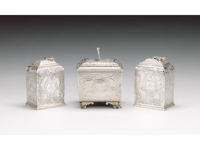 Two similar George II silver tea caddies and a sugar box by Eliza Godfrey, London 1742/3,