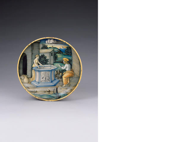 A Castel Durante 'Istoriato' dish by the 'In Castel Durante Painter' circa 1524-26