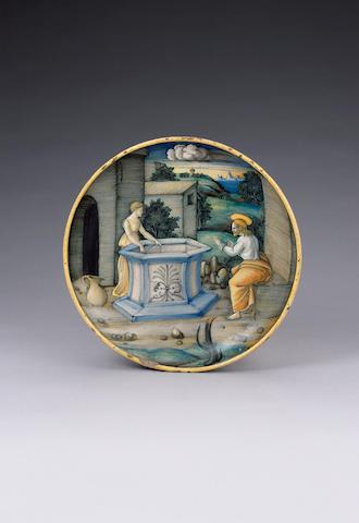 A Castel Durante 'Istoriato' dish by the 'In Castel Durante Painter' circa 1524-26