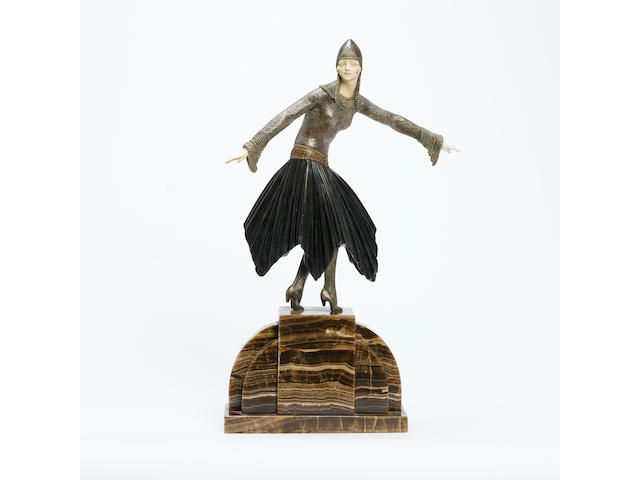 Demetre Chiparus 'Starlight' a Large Patinated Bronze and Ivory Figure, circa 1925