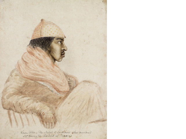 English School (circa 1810) A study of Wazir 'Ali Kahn (1780-1817), Nawab of Oudh  35 x 26.7 cm. (13