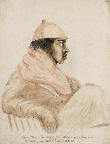English School (circa 1810) A study of Wazir 'Ali Kahn (1780-1817), Nawab of Oudh 35 x 26.7 cm. (13 3/4 x 10 1/2 in.) unframed