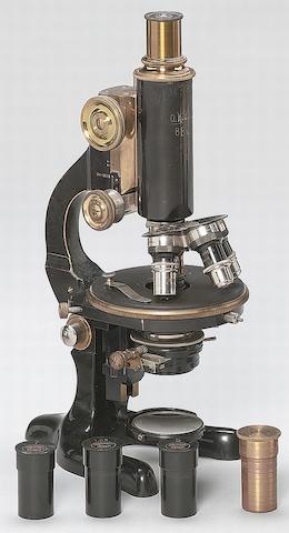 An O.Himmler compound monocular microscope, German, circa 1910,