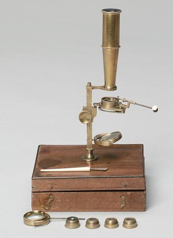 A Cary Gould-type microscope, English, circa 1830,