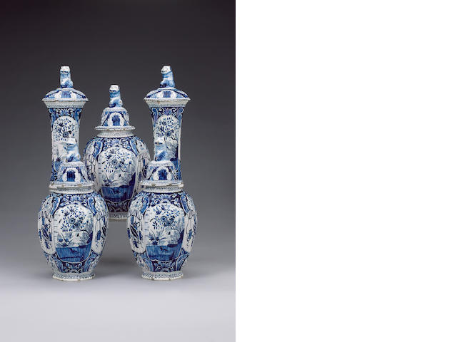 A 19th century Dutch Delft five-piece garniture