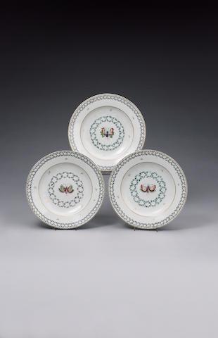 A group of three Venice, Cozzi plates circa 1780