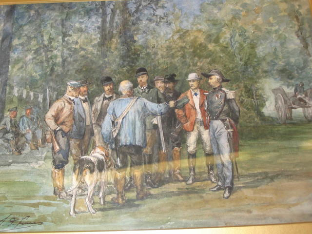 * de Launey (19th Century) Hunting party,