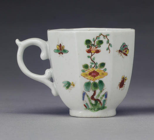 An early Worcester octagonal coffee cup circa 1752-3