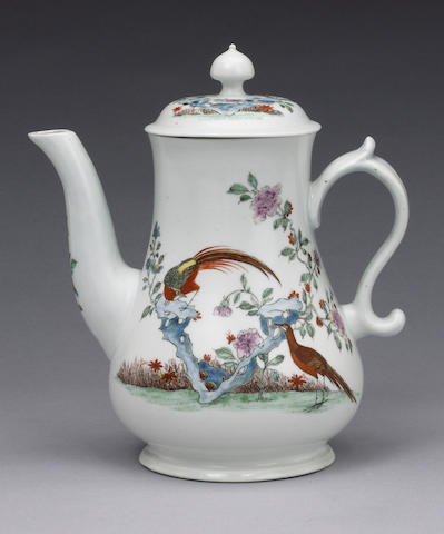 A superb early Worcester coffee pot and cover circa 1753-4