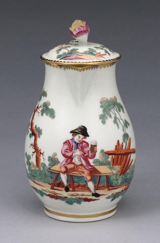 An important Worcester milk jug and cover decorated in the Giles workshop circa 1765-68
