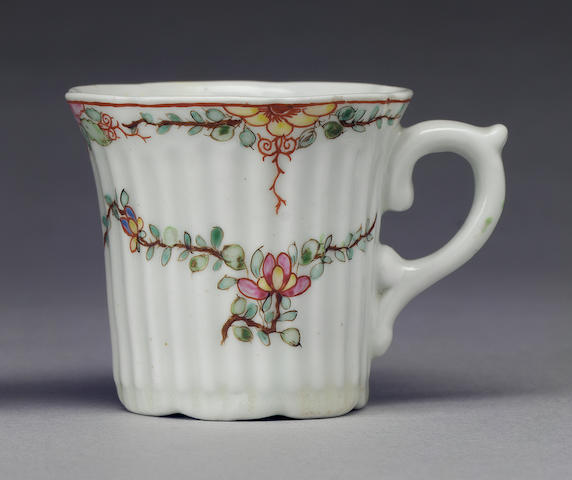An early Worcester reeded coffee can circa 1753-4