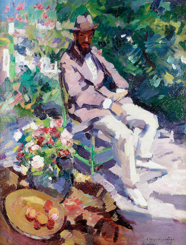 Konstantin Alexeevich Korovin, 1861-1939: 'Portrait of Seated Man With Beard', o/c 86.5 by 66cm
