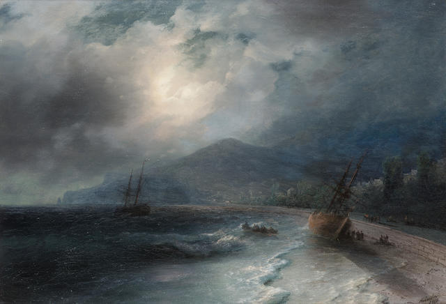 Ivan Konstantinovich Aivazovsky, 1817-1900 A beached ship 44 x 64 cm. (17 1/4 x 25 1/4 in.)