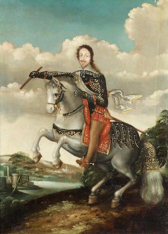 Studio of Claude Déruet (Nancy 1588-1662) An equestrian portrait of a gentleman, holding a baton, 42.6 x 30.6 cm. (16¾ x 12 in.)