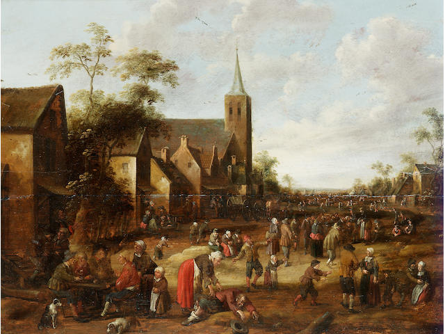 Joost Cornelis Droochsloot (Utrecht 1586-1666) A busy village street with figures seated outside an inn 45.8 x 60.1 cm. (18 x 23 5/8 in.)