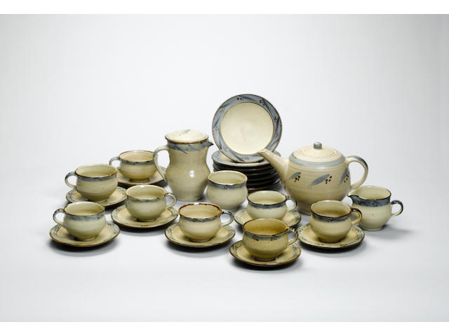 Bernard Leach a Tea Set, 1950 Diameter of Side Plates 16cm (6 1/4in.)