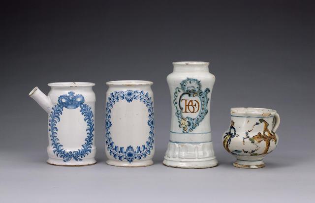 Two Bayreuth pharmacy jars circa 1750-60