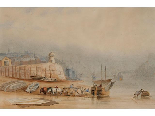 Joseph Axe Sleap River scene with figures unloading a boat onto a horsedrawn cart; and another, shipping near the coast, a pair,