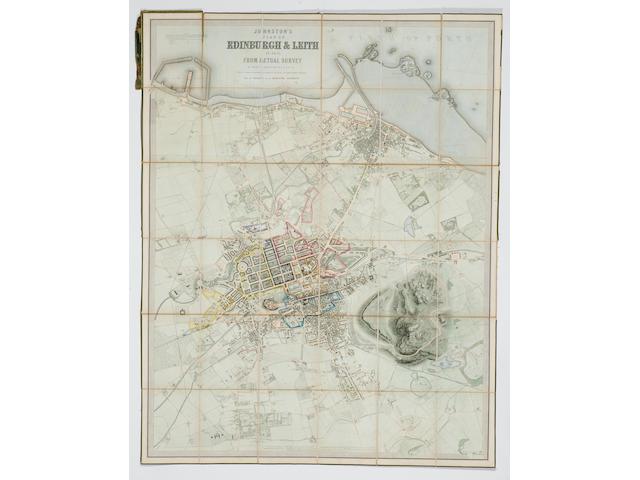 EDINBURGH LANGEFIELD (ALFRED) Johnston's Plan of Edinburgh & Leith in 1851