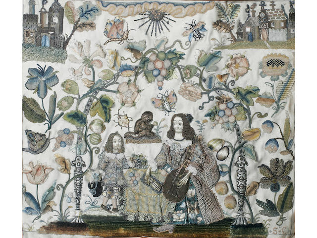 An early Charles II stumpwork panel