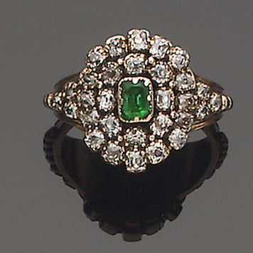 A mid 19th century emerald and diamond cluster ring,