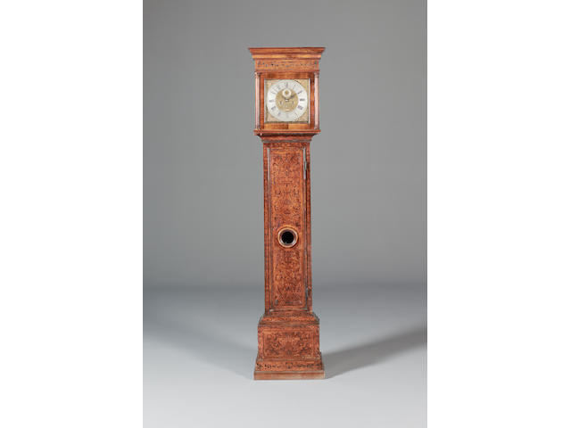 A late 17th century seaweed marquetry inlaid longcase clock Windmills Londini, the case associated