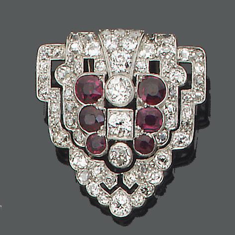 An art deco diamond and ruby clip brooch,