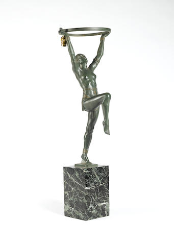 Max Le Verrier A Pair of Bronze Art Deco Figural Lamps, circa 1925