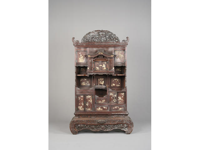 A 19th century Japanese hardwood, mother of pearl and carved ivory Shodana display cabinet