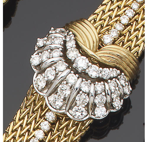 A gold and diamond cocktail watch, by Jaeger Le Coultre for Kutchinsky,