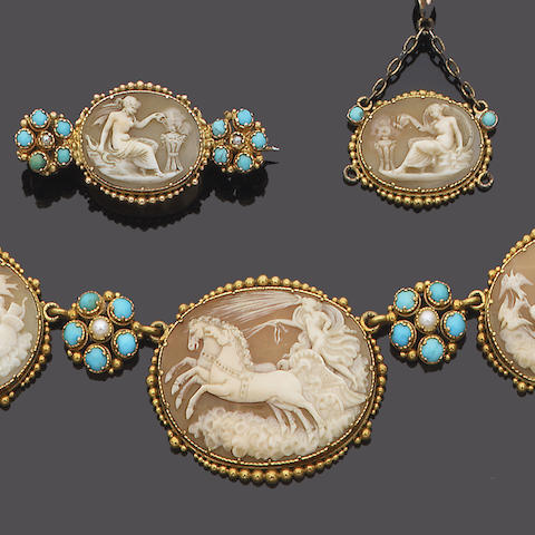 An early 19th century gold, shell cameo, turquoise and seed pearl necklace, pendant, brooch and earring suite, (4) (partly illustrated)