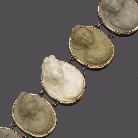 A collection of 19th century lava cameo jewellery