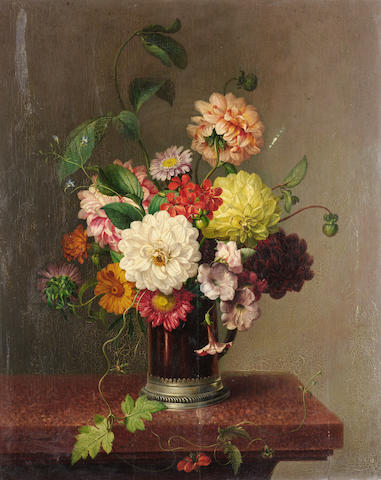Leopold Brunner (Austrian 1788-1866) Still life with flowers on a ledge 63 x 48.5 cm. (24 3/4 x 19 in.)