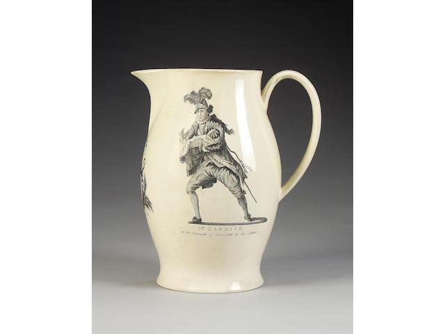 A Liverpool printed creamware jug of acting significance, circa 1780,