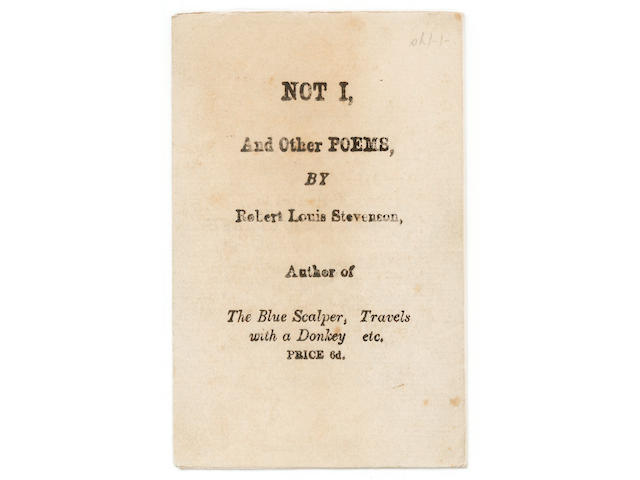 STEVENSON (ROBERT LOUIS) Not I, And Other Poems