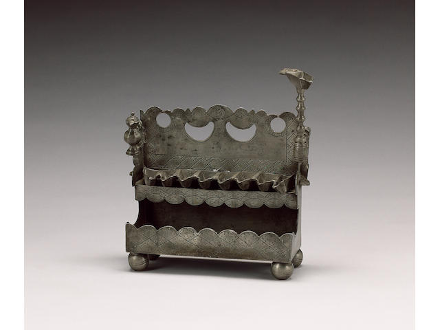 A late 18th early/19th century Continental pewter Hanukah lamp, probably German, circa 1800, stamped