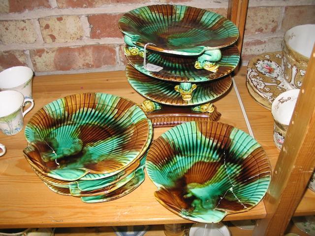 A nine piece  majolica scallop shaped dessert service
