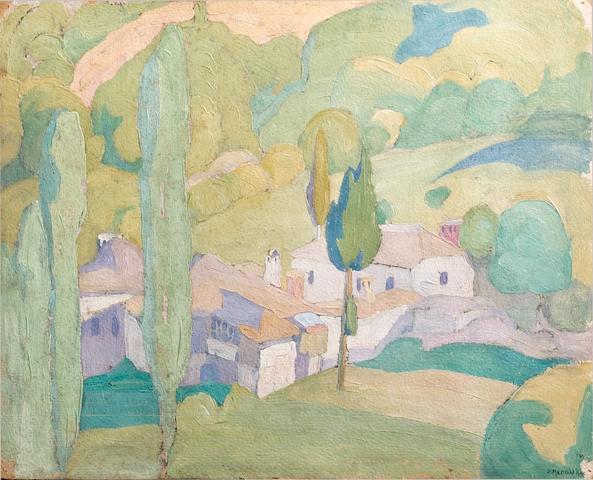 Spyros Papaloukas (1892-1957) View of a Greek village 28 x 33.5 cm. (11 x 13 1/4 in.)