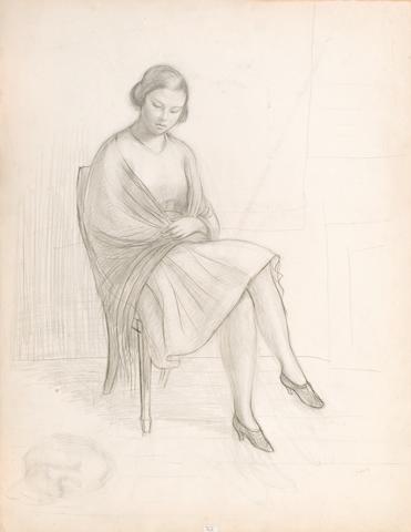 Dimitris Galanis (1879–1966) Seated woman 64 x 50,5 cm. (25 1/4 x 19 7/8 in.)