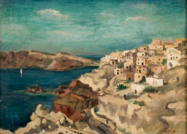 Aristotelis Vassilikiotis (1902–1972) View of Ia, Santorini 36 x 51 cm. (14 1/4 x 20 in.)