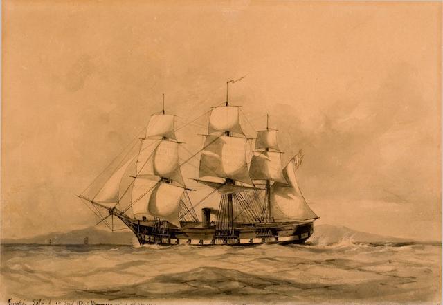 """Jean Altamura (1852-1878) Fregate """"Sjelland"""" 39 x 55 cm. (15 3/8 x 21 5/8 in.)"""