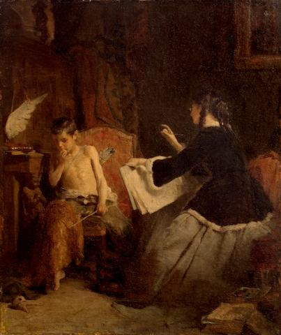 Nicholaos Gysis (1842-1901) Eros and the Painter 50 x 40 cm. (19 3/4 x 15 3/4 in.)
