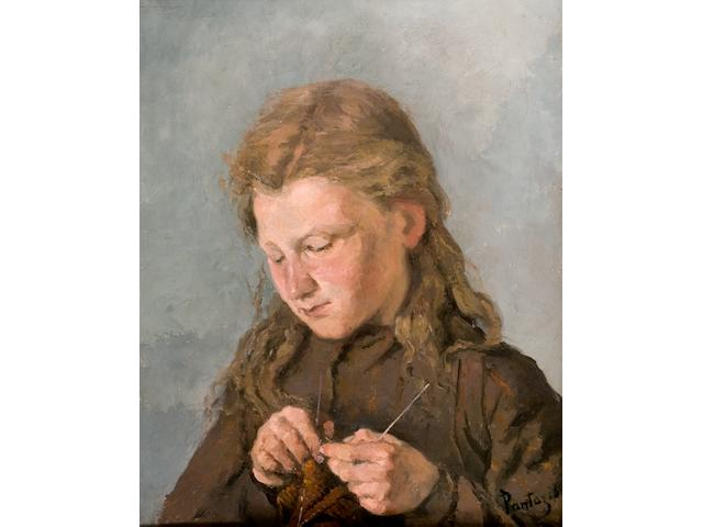 Pericles Pantazis (1849/50-1884) Girl knitting/Jeune fille au tricot 51 x 40.5 cm. (20 x 16 in.)