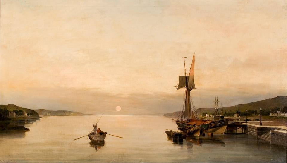 Constantinos Volanakis (1837–1907) Sunset over the island of Salamis 57 x 100 cm. (24 1/2 x 39 1/4 in.)