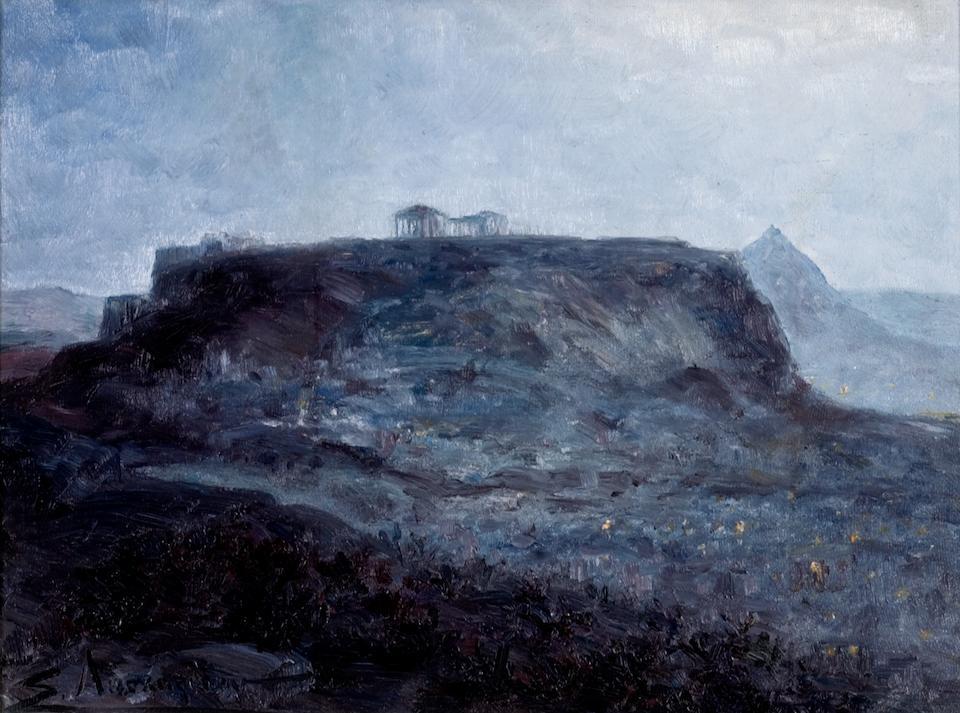 Sophia Laskaridou (1882–1965) View of the Acropolis, Summer night 24 x 32.5 cm. (9 1/2 x 12 3/4 in.)