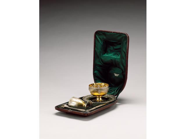 A Victorian six piece parcel silver-gilt christening set, by George Adams, 1865,