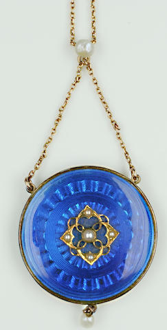 An early 20th century enamel and pearl pendant necklace