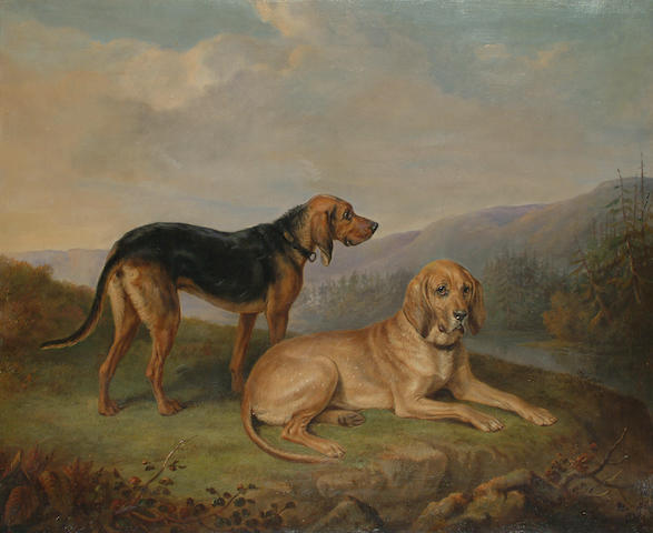 William Webb (British, 1780-1846) Bloodhounds in a landscape. 63.5 x 76cm (25 x 30in)