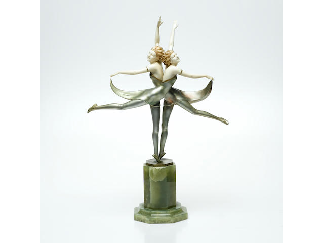 Ferdinand Preiss 'Butterfly Dancers' A Fine Cold-Painted Bronze and Carved Ivory Figural Group, circa 1925