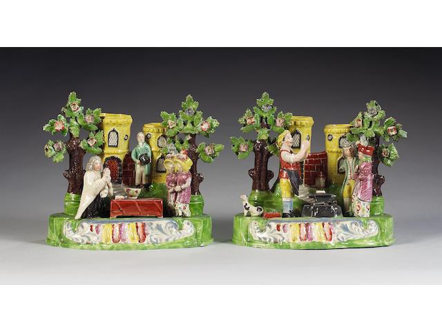 A pair of pearlware groups of 'The Baptism of Mary' and the 'Gretna Green Marriage', circa 1830,
